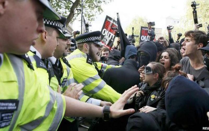 Police arrest 15 in anti-austerity protest in London