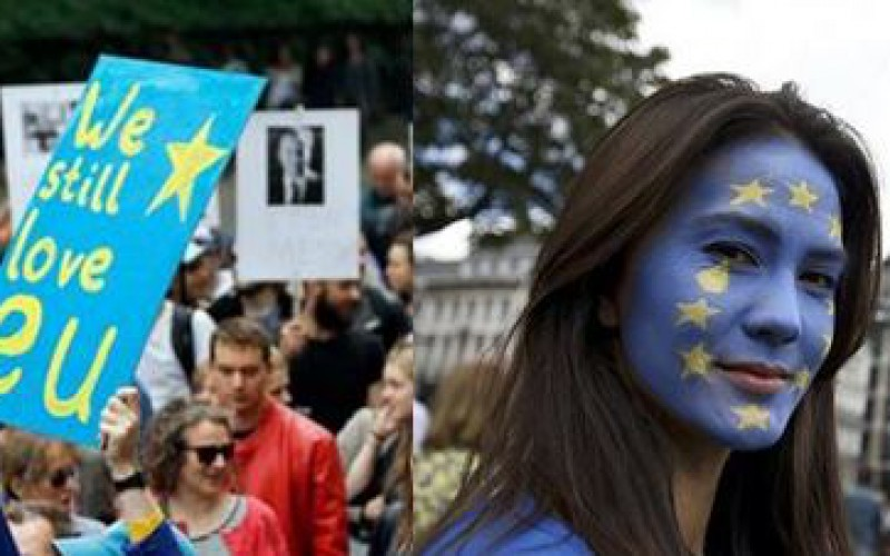 """ We love you, EU ""Thousands of Britons declare their love to the European Union"