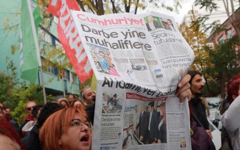 Turkey: Turkish rally in support of the opposition newspaper Cumhuriyet